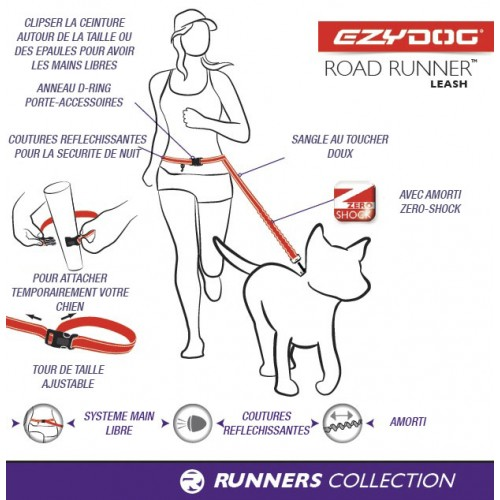 Laisse Road Runner rouge Ezydog