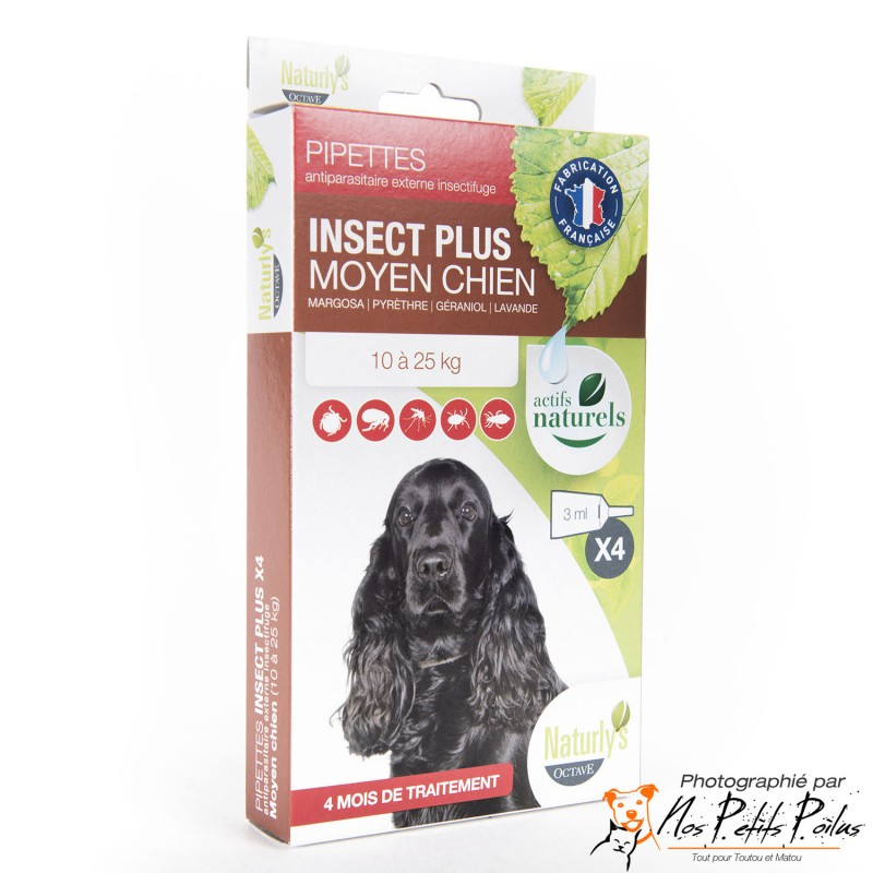 Pipettes antiparasitaires moyen chien Naturly's Octave