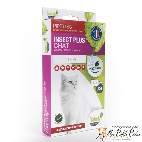 Pipettes antiparasitaires chat Naturly's Octave