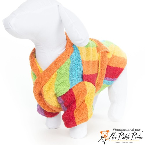 Peignoir arc-en-ciel Dog French Touch